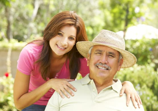 Hispanic caregiver and senior