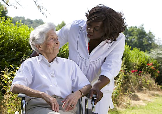 Caregiver accompanying a senior